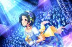 blue_hair blush brown_eyes dress idolmaster_cinderella_girls_starlight_stage okazaki_yasuha short_hair smile