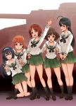5girls ahoge akiyama_yukari alternate_legwear arm_up bangs black_eyes black_hair black_legwear black_neckwear blouse blunt_bangs brown_eyes brown_footwear brown_hair clenched_hands double_v eyebrows_visible_through_hair frown girls_und_panzer green_skirt ground_vehicle hairband half-closed_eyes hand_on_hip holding_person isuzu_hana kneeling loafers long_hair long_sleeves looking_at_another looking_at_viewer messy_hair military military_vehicle miniskirt motor_vehicle multiple_girls nakasone_haiji neckerchief nishizumi_miho ooarai_school_uniform open_mouth orange_eyes orange_hair panzerkampfwagen_iv pleated_skirt reizei_mako saliva school_uniform serafuku shadow shoes short_hair skirt sleepy smile socks standing takebe_saori tank v v_arms waving white_blouse white_hairband