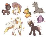 3boys 4girls ^_^ acerola_(pokemon) alicorn animalization beanie black_hair blonde_hair blue_eyes blush_stickers closed_eyes drooling eye_contact furrowed_eyebrows guzma_(pokemon) happy hat hau_(pokemon) horn jumping kuchinashi_(pokemon) lillie_(pokemon) long_hair looking_at_another lusamine_(pokemon) mizuki_(pokemon) mouth_hold multiple_boys multiple_girls musical_note my_little_pony my_little_pony_friendship_is_magic no_humans pokemon pokemon_(game) pokemon_sm pony red_headwear simple_background sparkle ssalbulre standing sunglasses unicorn walking white_background white_hair white_headwear wings yawning yellow_eyes