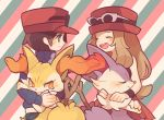 1boy 1girl :d ^_^ alternate_color black_hair blush braixen calme_(pokemon) closed_eyes creature diagonal-striped_background diagonal_stripes gen_6_pokemon hat holding holding_pokemon long_hair long_sleeves maru_(umc_a) open_mouth pokemon pokemon_(creature) pokemon_(game) pokemon_xy serena_(pokemon) shiny_pokemon skirt sleeveless smile standing stick striped striped_background sunglasses sweat tears upper_body wristband