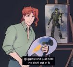 1boy belt bob_ross collared_shirt earrings easel green_shirt highres jewelry jojo_no_kimyou_na_bouken kakyouin_noriaki kookirani kuujou_joutarou looking_at_viewer male_focus painting_(object) palette redhead shirt smile solo stardust_crusaders subtitled the_joy_of_painting violet_eyes