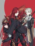1boy 2girls :p anger_vein armor black_gloves black_hair brown_hair cape carrying crossover dual_persona fate/grand_order fate_(series) gloves hair_over_one_eye hat heshikiri_hasebe instocklee japanese_armor katana koha-ace long_hair multiple_girls oda_nobunaga_(fate) oda_nobunaga_(fate)_(all) oda_nobunaga_(maou_avenger)_(fate) princess_carry red_eyes redhead shako_cap sheath sheathed shoulder_armor sode sword tongue tongue_out touken_ranbu very_long_hair violet_eyes weapon white_gloves