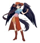 1girl :d absurdres bandana bangs black_hair black_wings blue_shirt boots breasts brown_footwear brown_headwear brown_skirt commentary_request cowboy_hat feathered_wings full_body hand_up hat head_tilt high_heel_boots high_heels highres knee_boots kurokoma_saki leon_(mikiri_hassha) long_hair looking_at_viewer low_ponytail medium_breasts open_mouth partial_commentary puffy_short_sleeves puffy_sleeves red_eyes shirt short_sleeves simple_background skirt smile solo standing tail touhou very_long_hair white_background wings