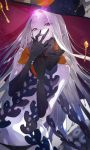 1girl a2ki abigail_williams_(fate/grand_order) bangs bare_shoulders black_bow black_headwear black_panties bow breasts fate/grand_order fate_(series) fingernails forehead glowing glowing_eye hat highres key keyhole long_hair looking_at_viewer multiple_bows navel open_mouth orange_bow panties parted_bangs pink_eyes polka_dot polka_dot_bow sharp_fingernails skull_print small_breasts third_eye underwear very_long_hair white_hair white_skin witch_hat