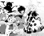 1boy 6+girls anchor_symbol animal_ears asymmetrical_wings black_hair bucket capelet closed_eyes dress greyscale hair_ornament hand_print hat holding holding_bucket holding_umbrella houjuu_nue kesa komano_aun kumoi_ichirin long_sleeves looking_at_another messy monochrome mouse_ears multicolored_hair multiple_girls murasa_minamitsu nazrin open_mouth paw_print pointing sailor_collar shikushiku_(amamori_weekly) shirt short_hair short_sleeves skirt skirt_hold smile streaked_hair tatara_kogasa toramaru_shou touhou umbrella unzan v-shaped_eyebrows white_background white_shirt wily_beast_and_weakest_creature wings