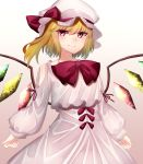1girl absurdres blonde_hair bow bowtie crystal dress flandre_scarlet hat hat_bow highres katsukare looking_at_viewer puffy_sleeves red_bow red_eyes red_neckwear short_hair solo the_embodiment_of_scarlet_devil touhou white_dress wings