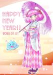 1girl 2020 absurdres aqua_eyes blush blush_stickers braid closed_mouth commentary_request crown_braid dated double_bun fan full_body green_eyes happy_new_year highres holding holding_umbrella japanese_clothes japanese_flag kimono kyoutsuugengo mao_(precure) new_year open_mouth oriental_umbrella paper_fan pearl_earrings pink_hair precure prunce_(precure) shoes smile star_twinkle_precure umbrella yuni_(precure)