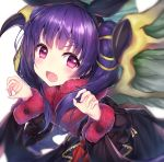 1girl black_dress blush claw_pose dragon_girl dragon_wings dress eyebrows_visible_through_hair fang fire_emblem fire_emblem:_the_sacred_stones fire_emblem_heroes fur_trim hair_between_eyes hair_ribbon hairband halloween_costume hands_up highres long_hair long_sleeves looking_at_viewer manakete myrrh_(fire_emblem) open_mouth purple_hair revision ribbon simple_background solo topia twintails upper_body violet_eyes white_background wings yellow_ribbon