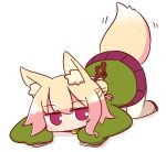 1girl animal_ear_fluff animal_ears bangs blonde_hair blush brown_footwear closed_mouth commentary_request eyebrows_visible_through_hair fox_ears fox_girl fox_tail full_body green_shirt hair_between_eyes hair_bun hair_ornament kemomimi-chan_(naga_u) long_hair long_sleeves looking_at_viewer lying naga_u on_stomach original pleated_skirt purple_skirt red_eyes ribbon-trimmed_legwear ribbon_trim shadow shirt skirt sleeves_past_fingers sleeves_past_wrists solo tail tail_raised thigh-highs white_background white_legwear