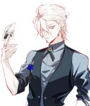 1boy blue_eyes card corsage earrings eyeliner fate/grand_order fate_(series) holding holding_card jewelry karna_(fate) looking_at_viewer maka_(mksrw) makeup male_focus photo_(object) ring solo upper_body veset waistcoat wavy_hair white_hair