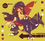 claws dragon full_body garchomp gen_3_pokemon gen_4_pokemon legs_apart maru_(umc_a) mawile no_humans number poke_ball_print pokemon pokemon_number pokemon_on_back red_eyes sitting standing yellow_background yellow_eyes