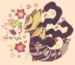 creature eye_contact floral_background gen_4_pokemon giratina legendary_pokemon looking_at_another maru_(umc_a) no_humans pokemon pokemon_(creature) shaymin size_difference white_background