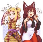 2girls ;d animal_ears bangs blonde_hair blunt_bangs breasts brooch brown_hair commentary cowboy_shot double_bun dress english_commentary eyebrows_visible_through_hair fangs fingernails grin hair_between_eyes hair_ribbon halftone halftone_background hand_up hands_up haniwa_(statue) imaizumi_kagerou jewelry joutouguu_mayumi long_sleeves looking_at_viewer medium_breasts multiple_girls nail_polish one_eye_closed open_mouth puffy_short_sleeves puffy_sleeves purple_background purple_sash red_eyes red_nails ribbon salute sash sharp_fingernails short_hair short_sleeves sidelocks smile speech_bubble touhou translation_request vambraces white_background white_dress white_ribbon wide_sleeves wolf_ears wool_(miwol) yellow_dress yellow_eyes