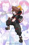 3girls 6+boys absurdres aqua_(kingdom_hearts) belt black_hair blonde_hair blue_eyes brown_hair closed_eyes copyright_name donald_duck fingerless_gloves gloves goofy hat highres hood hoodie jacket jewelry kairi_(kingdom_hearts) keyblade kingdom_hearts kingdom_hearts_iii lea_(kingdom_hearts) lightsource looking_at_viewer mickey_mouse multiple_boys multiple_girls necklace open_clothes open_jacket open_mouth redhead riku roxas smile sora_(kingdom_hearts) spiky_hair ventus weapon xion_(kingdom_hearts)