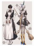 2boys alternate_costume alternate_hairstyle apron arjuna_(fate/grand_order) arjuna_alter black_hair boots broom dark_skin dark_skinned_male dual_persona enmaided fate/grand_order fate_(series) frilled_skirt frills from_behind high_heels highres juliet_sleeves long_hair long_skirt long_sleeves maid maid_apron maid_headdress maka_(mksrw) male_focus miniskirt multiple_boys ponytail puffy_sleeves skirt tail white_hair