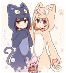 3girls animal_costume animal_ears animal_hood bangs black_hair blush brown_background brown_eyes brown_hair cat_costume cat_ears cat_hood chloe_von_einzbern closed_mouth commentary_request dark_skin eyebrows_visible_through_hair fake_animal_ears fake_tail fate/kaleid_liner_prisma_illya fate_(series) hair_between_eyes hair_ornament hairclip hood illyasviel_von_einzbern kemonomimi_mode long_hair minigirl miyu_edelfelt mouse_ears multiple_girls paw_background pink_hair red_eyes smile star tail translation_request two-tone_background white_background yoru_nai