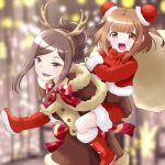 2girls :d bangs beatrice_(princess_principal) blunt_bangs blurry blurry_background bow brown_coat brown_eyes brown_hair bun_cover carrying coat dorothy_(princess_principal) double_bun fake_antlers hair_up long_sleeves multiple_girls open_mouth piggyback pink_bow princess_principal red_footwear sack short_hair smile taniguchi_gou violet_eyes
