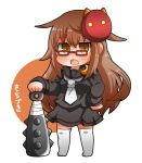 1girl bangs black_sailor_collar black_serafuku black_shirt black_skirt blush brown_background brown_eyes brown_hair chibi club commentary_request crescent crescent_moon_pin eyebrows_visible_through_hair full_body glasses gurageida hair_between_eyes highres kantai_collection long_hair long_sleeves looking_at_viewer mask mask_on_head mochizuki_(kantai_collection) neckerchief no_shoes oni_mask open_mouth pleated_skirt red-framed_eyewear sailor_collar school_uniform serafuku shirt skirt solo spiked_club standing thigh-highs two-tone_background very_long_hair weapon white_background white_legwear white_neckwear