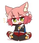 1girl 7th_dragon 7th_dragon_(series) :d animal_ear_fluff animal_ears bangs belt belt_buckle black_footwear blue_jacket blush boots buckle cat_ears chibi commentary_request eyebrows_visible_through_hair fang full_body gloves green_eyes hair_between_eyes hair_bobbles hair_ornament harukara_(7th_dragon) jacket knee_boots long_sleeves looking_at_viewer naga_u notice_lines one_side_up open_mouth pink_hair red_gloves shadow sitting smile solo striped striped_legwear thigh-highs thighhighs_under_boots white_background white_belt