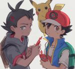 2boys baseball_cap black_hair blue_eyes blue_vest brown_backpack brown_eyes commentary_request gou_(pokemon) green_backpack grey_shirt hair_ornament hairclip hat holding holding_phone kurage2535 looking_at_viewer male_focus multiple_boys phone pikachu pokemon pokemon_(anime) pokemon_(creature) pokemon_on_head pokemon_swsh_(anime) rotom rotom_phone satoshi_(pokemon) shirt simple_background spiky_hair sweat vest white_background white_shirt