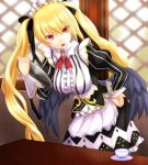 1girl :o angel_wings ariel_(sennen_sensou_aigis) black_ribbon black_wings brooch cup free_note017 gold_trim hair_ribbon hand_on_hip holding holding_tray indoors jewelry leaning_forward long_hair long_sleeves maid puffy_long_sleeves puffy_sleeves red_eyes ribbon sennen_sensou_aigis solo standing striped table teacup tray twintails waitress window wings