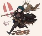 1boy armor axe blue_eyes blue_hair bow_(weapon) byleth_(fire_emblem) byleth_(fire_emblem)_(male) cape doku_gin1126 fire_emblem fire_emblem:_three_houses highres holding holding_axe holding_bow_(weapon) holding_sword holding_weapon lance parted_lips polearm short_hair solo super_smash_bros. sword weapon