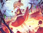 1girl ;d absurdres ascot blonde_hair blood clock crystal dutch_angle fangs flandre_scarlet hair_between_eyes hair_ribbon highres long_hair looking_at_viewer nail_polish one_eye_closed one_side_up open_mouth pigeon-toed pointy_ears puffy_short_sleeves puffy_sleeves red_eyes red_footwear red_nails red_ribbon red_skirt red_vest ribbon shirt shoes short_sleeves skirt skirt_hold skirt_set smile socks solo ssangbong-llama standing tongue touhou vest white_legwear white_shirt wing_collar wings wrist_cuffs yellow_neckwear
