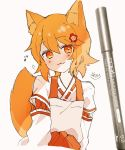 1girl :3 animal_ear_fluff animal_ears bangs blush brown_hair closed_mouth commentary cropped_torso eighth_note eyebrows_visible_through_hair flower fox_ears fox_girl fox_tail grey_apron hair_between_eyes hair_flower hair_ornament hakama highres japanese_clothes kimono long_sleeves looking_at_viewer musical_note photo red_eyes red_flower red_hakama ribbon_trim senko_(sewayaki_kitsune_no_senko-san) sewayaki_kitsune_no_senko-san signature sofra solo symbol_commentary tail tail_raised traditional_media upper_body white_kimono
