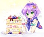 1girl :d azur_lane bangs bare_shoulders blueberry blush camisole commentary_request crown eyebrows_visible_through_hair food fork fruit gloves green_eyes hair_between_eyes hair_ornament hair_ribbon heart high_ponytail holding holding_fork holding_knife javelin_(azur_lane) knife mini_crown open_mouth pancake ponytail purple_hair purple_ribbon red_gloves ribbon shikito single_glove smile solo sparkle strawberry tilted_headwear white_camisole white_gloves