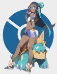 1girl black_hair blue_hair dark_skin drednaw highres machi_(wm) midriff pokemon pokemon_(game) pokemon_swsh rurina_(pokemon) shorts