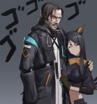 1boy 1girl absurdres animal_ears arknights beard black_hair chinese_commentary closed_mouth commentary_request dobermann_(arknights) doctor_(arknights) dog_ears ex929684007 facial_hair gloves grey_background highres jacket john_wick keanu_reeves long_hair looking_at_viewer mustache nose one_eye_closed teeth upper_body