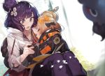 2girls abigail_williams_(fate/grand_order) akieda bag bandaid_on_forehead bangs black_bow black_jacket blonde_hair blush book bow breasts closed_eyes crossed_bandaids fate/grand_order fate_(series) flower forehead grin hair_bun hair_flower hair_ornament heroic_spirit_traveling_outfit high_collar highres hug jacket katsushika_hokusai_(fate/grand_order) long_hair long_sleeves multiple_bows multiple_girls open_book open_mouth orange_belt orange_bow parted_bangs pencil purple_hair short_hair shoulder_bag simple_background sketchbook sleeves_past_fingers sleeves_past_wrists smile swept_bangs violet_eyes white_background