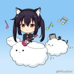 1girl :3 amplifier animal animal_ear_fluff animal_ears bangs beamed_sixteenth_notes black_cat black_hair black_hairband black_jacket blazer blue_background blush brown_eyes cat cat_ears chibi closed_mouth clouds collared_shirt commentary_request eighth_note fake_animal_ears fender_mustang hair_between_eyes hairband holding holding_instrument instrument jacket k-on! long_hair miicha musical_note nakano_azusa neck_ribbon quarter_note red_ribbon ribbon school_uniform shirt smile solid_circle_eyes solo twintails twitter_username white_shirt