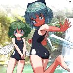 2girls artist_name bare_arms bare_shoulders barefoot blue_bow blue_eyes blue_hair blush bow cirno collarbone daiyousei flat_chest green_eyes green_hair hair_between_eyes hair_bow hands_together highres huxiao_(mistlakefront) ice ice_wings leg_up looking_back multiple_girls one-piece_swimsuit open_mouth ponytail short_hair swimsuit tan tanline touhou water waterfall wings yellow_bow