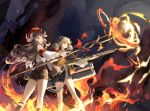 2girls achyue arknights armband bag beret brown_eyes brown_hair choker cuffs embers eyjafjalla_(arknights) fire flamethrower goat_horns goat_tail grin handbag hat highres horns ifrit_(arknights) jacket kneehighs long_hair long_sleeves looking_afar magic multiple_girls orange_eyes orange_shirt shirt shorts smile smoke staff twintails wand weapon