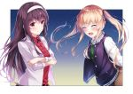 2girls :d blazer blonde_hair blue_ribbon blush brown_hair brown_skirt closed_eyes closed_mouth collared_shirt crossed_arms dress_shirt facing_viewer floating_hair green_sweater hair_ribbon hairband highres jacket kasumigaoka_utaha long_hair long_sleeves multiple_girls open_blazer open_clothes open_jacket open_mouth red_shirt ribbon saenai_heroine_no_sodatekata sawamura_spencer_eriri shiny shiny_hair shirt skirt smile standing sweater upper_body very_long_hair white_background white_hairband white_jacket wing_collar yumemo