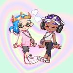 2boys bandana blue_hair blush crown dark_skin eyebrows full_body green_eyes headphones heart highres hood hoodie inkling jewelry looking_at_viewer midriff multiple_boys navel necklace orange_eyes pants pointy_ears purple_hair ribbed_sweater shoes shorts smile sneakers souzaipan spiky_hair splatoon_(series) sweater sweater_vest yoga_pants