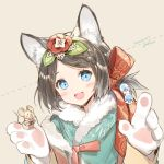 1girl animal_ears blue_eyes blush brown_hair chinese_zodiac empew eyebrows_visible_through_hair flower hair_flower hair_ornament looking_at_viewer mouse mouse_ears open_mouth original short_hair smile solo upper_body year_of_the_rat