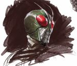 1boy antennae black_background commentary dave_rapoza helmet highres kamen_rider_(series) kamen_rider_1 looking_to_the_side oekaki pose scribble simple_background upper_body white_background