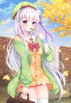 1girl absurdres bag bangs bare_shoulders blunt_bangs blush bow braid breasts collarbone commentary_request eating emilia_(re:zero) eyebrows_visible_through_hair flower food french_braid green_headwear green_jacket hair_flower hair_ornament hair_ribbon hat highres holding holding_bag jacket lavender_hair lebring long_hair looking_at_viewer medium_breasts outdoors pocky pointy_ears purple_ribbon re:zero_kara_hajimeru_isekai_seikatsu red_bow ribbon rose silver_hair solo thigh-highs violet_eyes white_flower white_rose x_hair_ornament