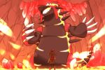 1girl brown_hair cave gen_3_pokemon groudon hair_ribbon haruka_(pokemon) legendary_pokemon mizuto_(o96ap) molten_rock pokemon pokemon_(creature) primal_groudon ribbon shorts standing