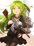1girl absurdres black_legwear black_serafuku cowboy_shot crescent crescent_hair_ornament crescent_moon_pin green_eyes green_hair gun hair_ornament highres kantai_collection long_hair looking_at_viewer machinery nagatsuki_(kantai_collection) necktie pantyhose school_uniform searchlight serafuku solo standing suzushiro_(gripen39) weapon weapon_request white_background white_neckwear