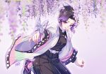 1girl black_hair black_jacket black_pants blurry_foreground butterfly_hair_ornament closed_mouth eyebrows_visible_through_hair flower gradient_hair hair_ornament haori hydrangea jacket japanese_clothes kimetsu_no_yaiba kochou_shinobu leg_up long_sleeves multicolored_hair n09142 pants purple_hair short_hair smile solo violet_eyes