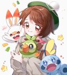 1girl blue_eyes brown_eyes brown_hair gen_8_pokemon green_eyes green_headwear grey_cardigan grookey holding holding_pokemon long_sleeves looking_at_viewer pokemon pokemon_(creature) pokemon_(game) pokemon_swsh scorbunny smile sobble star tam_o'_shanter upper_body yalmyu yuuri_(pokemon)