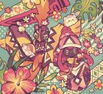 bag comfey creature cup cutiefly drinking_straw flower gen_7_pokemon handbag holding holding_cup legendary_pokemon looking_at_viewer maru_(umc_a) no_humans pokemon pokemon_(creature) surfboard tapu_koko togedemaru