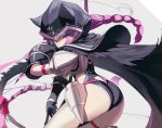 1girl animal_hood ass black_cape black_capelet black_cloak black_leotard cape capelet cloak fate/grand_order fate_(series) hood hood_up hooded_capelet hooded_cloak leotard long_braid long_hair medusa_(lancer)_(fate) pro-p purple_hair scythe violet_eyes