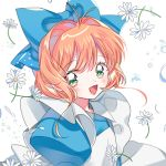 1girl antenna_hair bangs blue_bow bow cardcaptor_sakura flower green_eyes hair_bow juliet_sleeves kinomoto_sakura long_sleeves looking_at_viewer magical_girl open_mouth orange_hair puffy_sleeves short_hair smile solo upper_body white_flower yalmyu