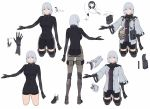 1girl absurdres bag bangs belt black_shorts breasts closed_mouth duoyuanjun english_text eyebrows_visible_through_hair girls_frontline highres jacket multiple_views pouch rpk-16_(girls_frontline) short_hair shorts silver_hair simple_background smile standing violet_eyes white_background wide_sleeves