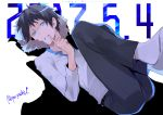 1boy black_hair blue_eyes dated durarara!! finger_to_mouth highres jacket jacket_removed looking_at_viewer male_focus no_shoes orihara_izaya pa_yashi sitting socks solo twitter_username