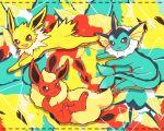black_eyes commentary_request creature flareon full_body gen_1_pokemon jolteon multicolored multicolored_background no_humans pokemon pokemon_(creature) tansho vaporeon